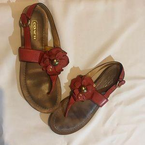 Coach Sari leather floral sandals 8.5
